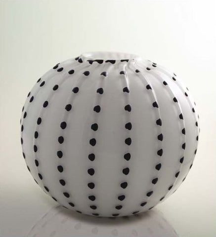 White spherical vase with contrasting colour