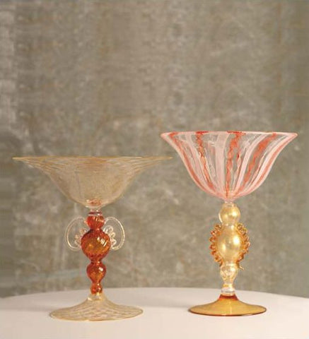 Coloured glass and crystal Zanfirico goblets