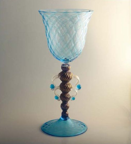Tall pale blue and gold chalice