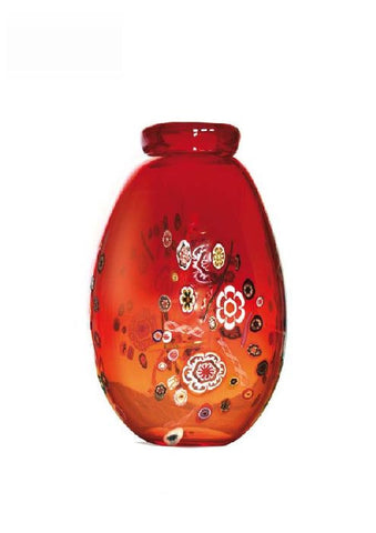 Red vase with murrines
