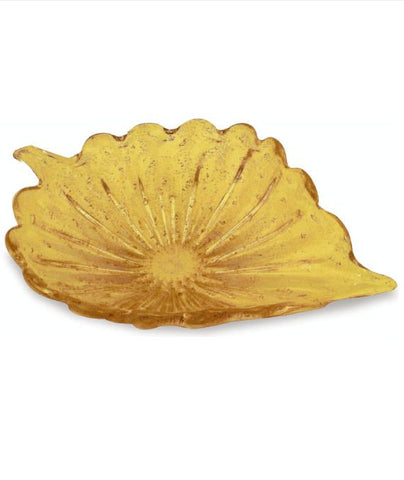 Leaf centrepiece dish in amber glass
