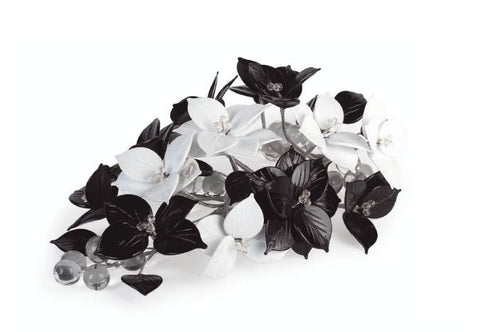 Black and white decorative flowers