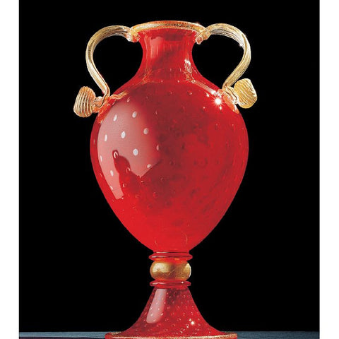 Red and gold Murano glass bubble vase