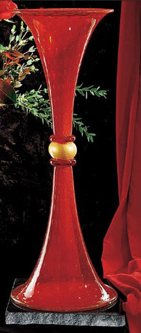 Red and gold Murano glass trumpet vase