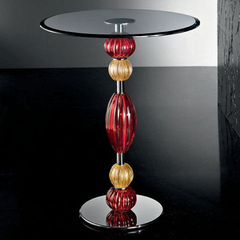 Murano glass occasional table with red and gold decorations