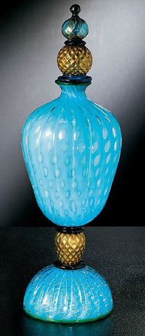 Turquoise Murano glass ornamental bottle with bubble design