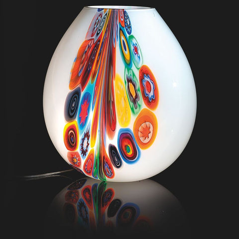 Large white Murano glass vase with colourful murrine design