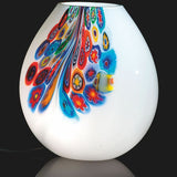 Medium white Murano glass vase with colourful Murrine design