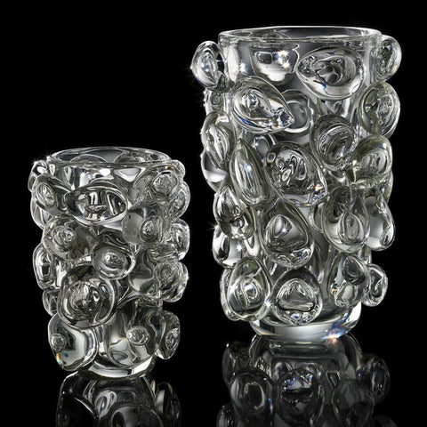 Large clear Murano glass vase with bubble design