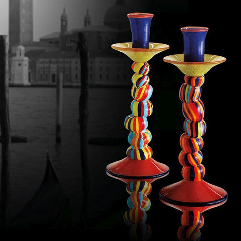 Two gorgeous brightly-coloured Murano glass candlesticks