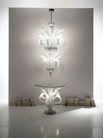 Luxurious white Murano glass foyer table with lights