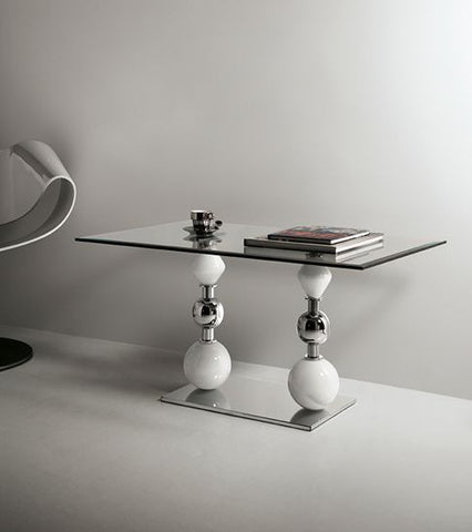 Clear Venetian glass occasional table with white Murano glass spheres