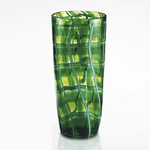 Tall green and sapphire blue filigrana glass flower vase