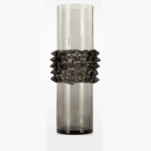 Grey Venetian glass flower vase with prism decoration