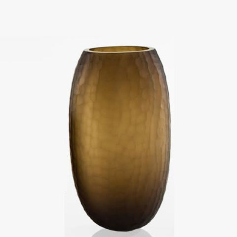 Tall coffee-coloured Murano glass flower vase