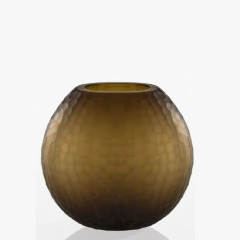 Small coffee-brown Murano glass vase with textured pattern
