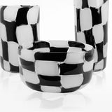 Tall Murano glass vase with 50s-inspired black and white squares