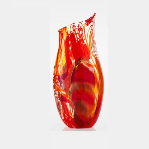 Decorative and unique hand-blown orange Murano glass vase