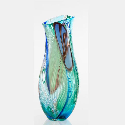 Decorative and unique hand-blown blue-green Murano glass vase