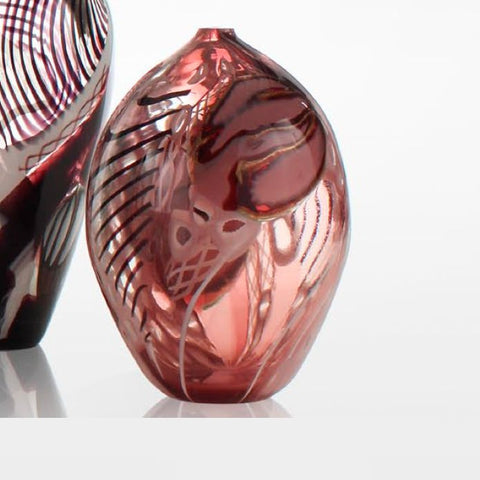 Unique and decorative hand-blown amethyst Murano glass bud vase