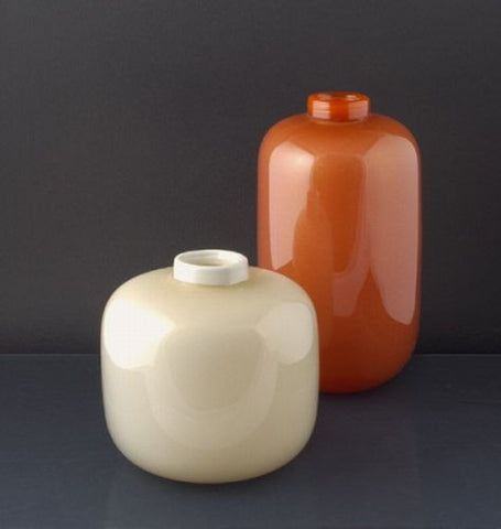 White And Orange Murano Glass Vases Murano Glass Sculptures