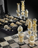Murano glass chess set infused with real gold