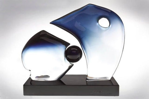 Murano glass abstract 'bull fight' sculpture