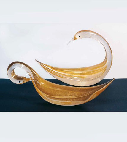 Pair of crystal and gold swans