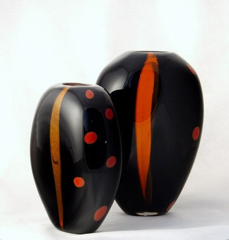 Sommerso vases in black orange and gold
