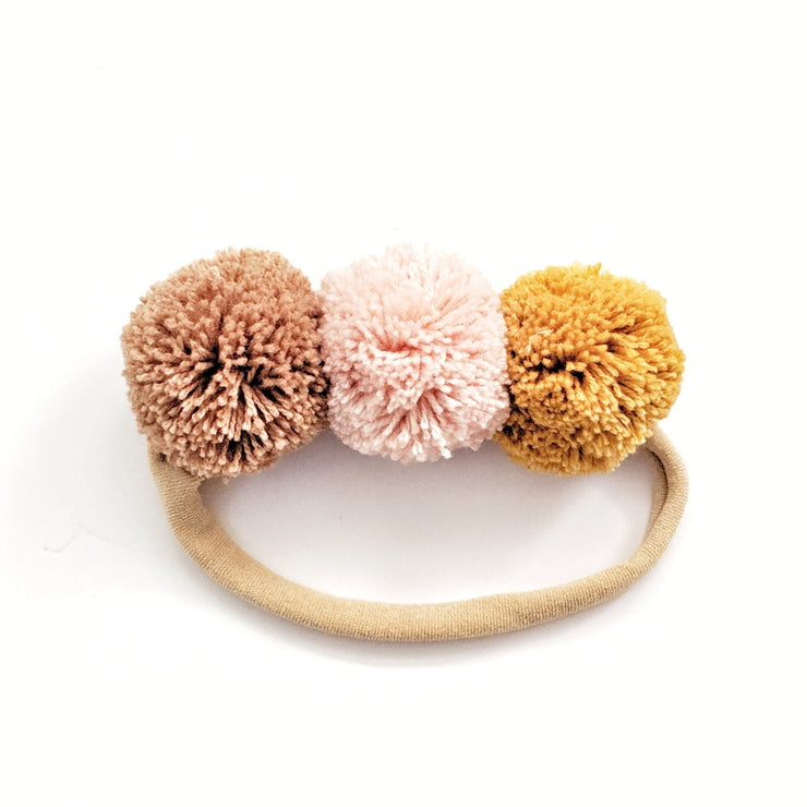 Pompom Trio Head Band - Banana Split