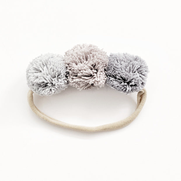 Pompom Trio Head Band - Andaman Sea