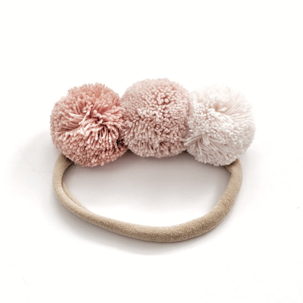 Pompom Trio Head Band - Ballet Slipper