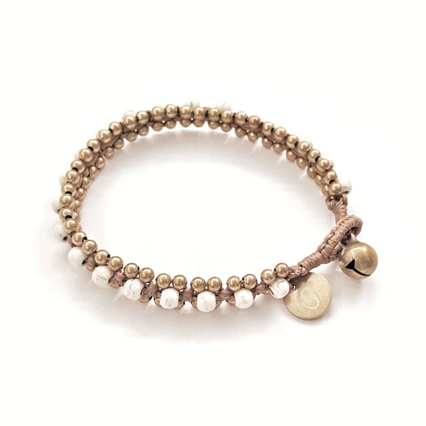 The Toula Bracelet/Anklet in White Turquoise and honey brown cord