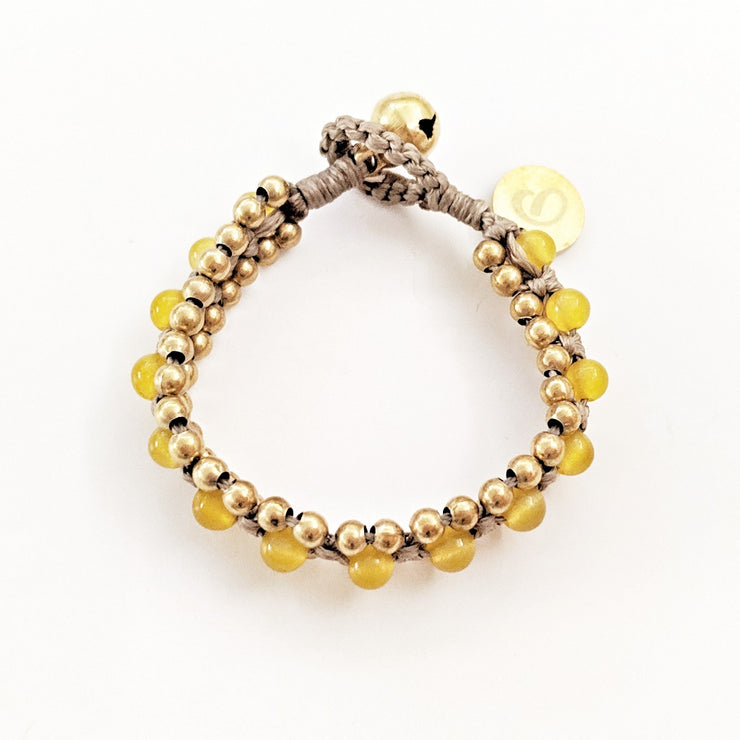 The Toula Bracelet/Anklet in Yellow Jade and light brown cord