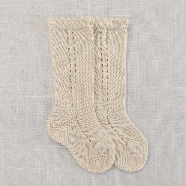 Side openwork knee high socks- Linen, Socks - Ponponia