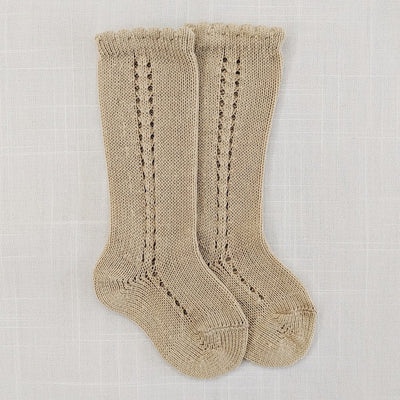 Side openwork knee high socks- Taupe, Socks - Ponponia