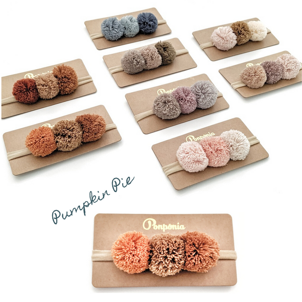 Pompom Trio Head Band - Pumpkin Pie