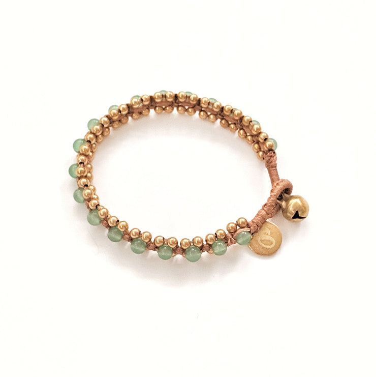 The Toula Bracelet/Anklet in Green Aventurine and Honey Brown cord