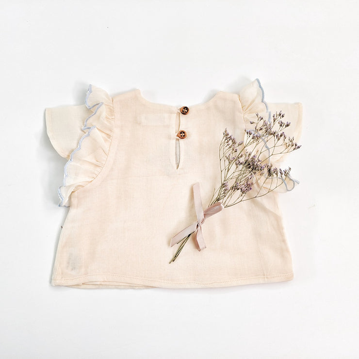 The Riya Blouse in Bare pink & Blue Lavender Embroidery