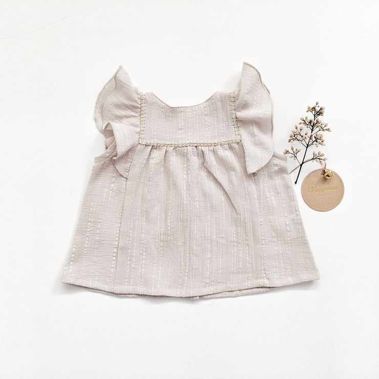 Lola Ruffled Sleeveless Top in Warm Grey
