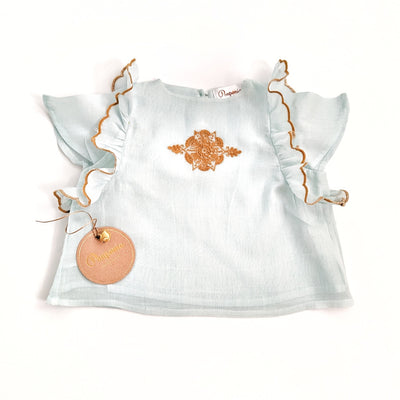 The Riya Blouse in Pale Sapphire & Deep Amber Embroidery