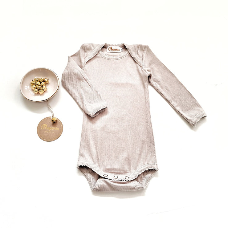 Ellie Rib Bodysuit in Stone