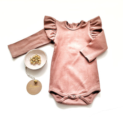 Roni Ruffled bodysuit in Brown Rose