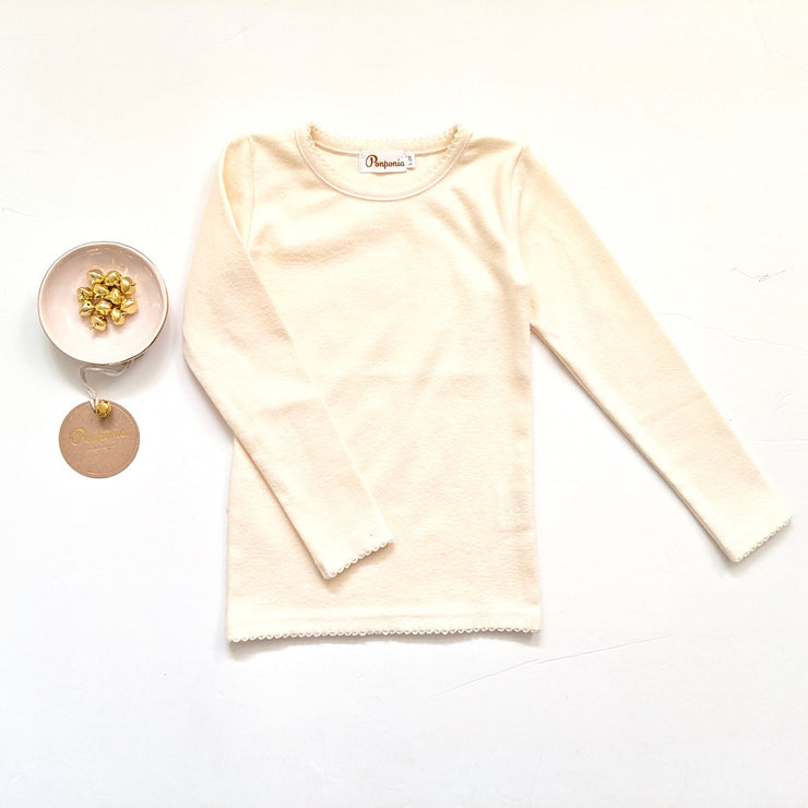 Lara Long Sleeve T in Fuzzy Ivory