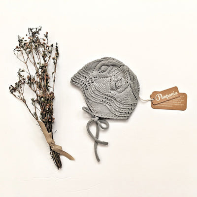 Libby Knitted Bonnet in Stone Blue, accessories - Ponponia