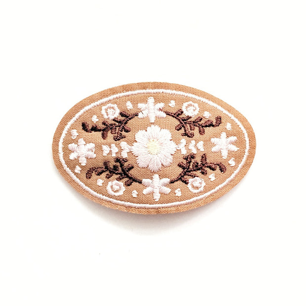Flowery Embroidered Hair Clip - Light Taupe