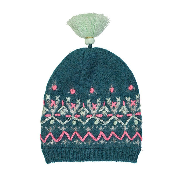 Embroidered wool beanie- Deep Green, hats - Ponponia