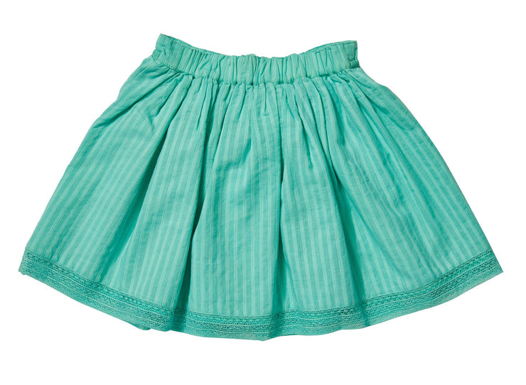 Rich cotton skirt with tassels details- Green, skirts - Ponponia