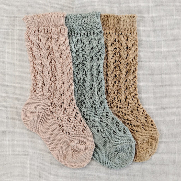 Full openwork knee high socks- Camel, Socks - Ponponia