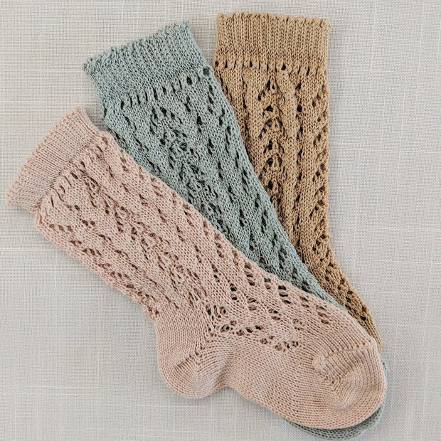 Full openwork knee high socks- Powder, Socks - Ponponia